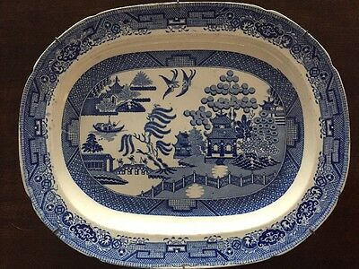 V Large Antique C 1820 Blue/White Willow Pattern Staffordshire Stoneware Platter