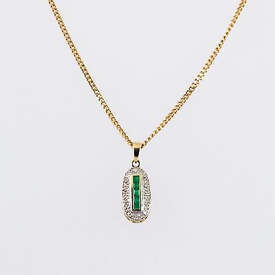 9ct Yellow Gold Emerald and Diamond Pendant and Chain