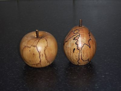 turned wooden  apple & pear in spalted beech unique gift idea