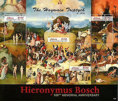 Liberia 2016 MNH Hieronymus Bosch 500th Memorial 4v M/S Art Paintings Stamps
