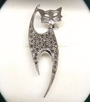 Sterling Silver 925 Marcasite Cat Brooch Pin In Gift box