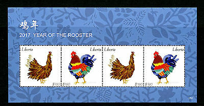 Liberia 2017 MNH Year of Rooster 4v M/S Chinese Lunar New Year Stamps