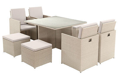 Cream Grey Rattan Garden Cube Set 9pc Furniture Outdoor Dining Table and Chairs