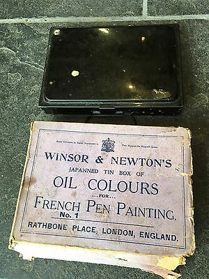 Vintage Windsor And Newton French Pen Painting Tin Set