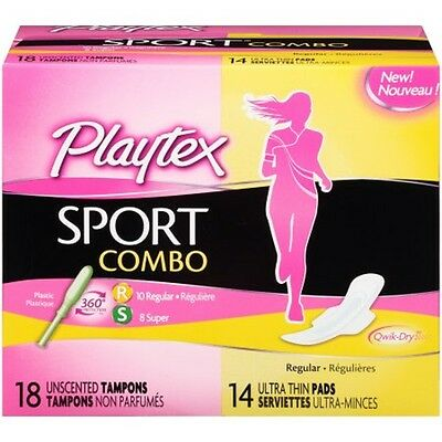 Playtex Sport Combo Pack 18 Unscented Regular/super Tampons 14 Ultra Thin Pads