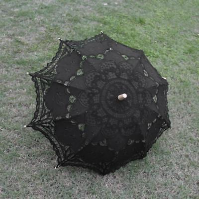 Cotton Lace Wedding Bridal Parasols Umbrella Black for Party