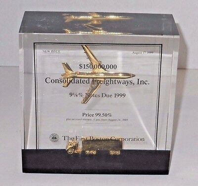 Consolidated Freightways Trucking Co. Lucite Cube Advertising Paperweight