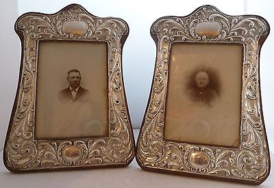 Pair 1910 Solid Silver Picture Frame Wooden Back Hold 5 1/8 by 3 5/8 Photograph