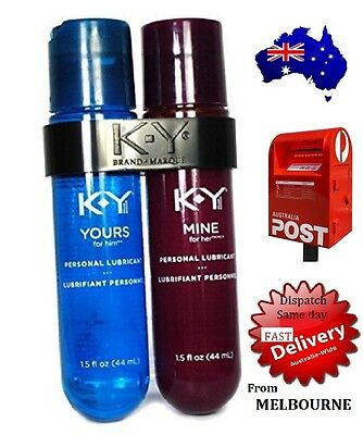 KY Yours & Mine TWIN PACK Couples Lubricant, Excites, Delights HIS+HER 2 x 44mL