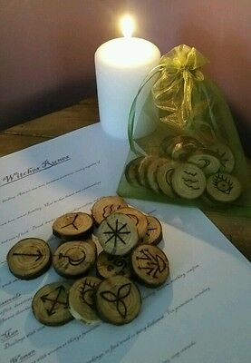 Hand-crafted 13 Wooden Witches Runes - with Pouch & Information sheet - Pagan
