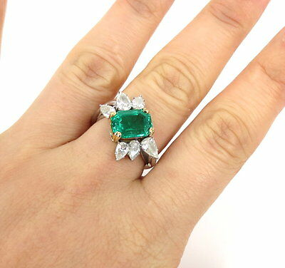 Harry Winston 3.0ct Colombian Emerald & Diamond Platinum & Gold Ring AGL Cert