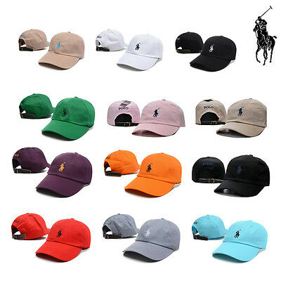 Pony Polo Fine Embroidery Baseball Leather Strap Back Adjustable Golf Hats Cap