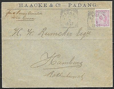 Netherlands Indies cover 1897 25c franked Firm SHIPcover Padang to Hamburg