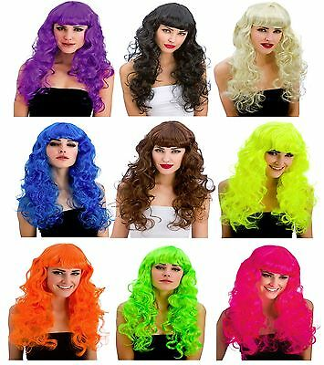 Foxy Coloured Curly Wigs Long Wig Fancy Dress Adult Ladies Women 80s Popstar Pop