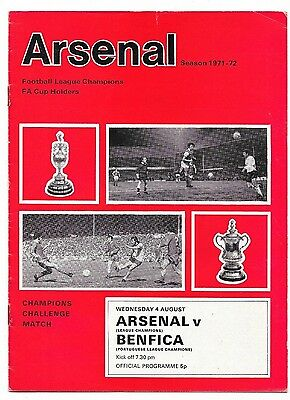 Arsenal v Benfica, 1972/73 - Autographed (Eusebio) Friendly Match Programme