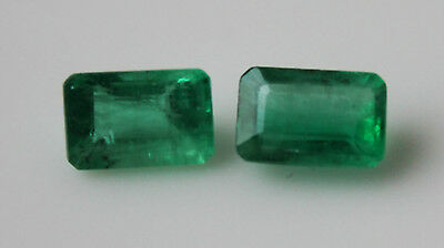 1 ct Pair of Colombian Emeralds - exquisite green colour (6x4)