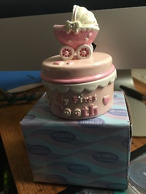 My First Tooth Pram Design Trinket Box - Pink - New Baby/ Christening Gift