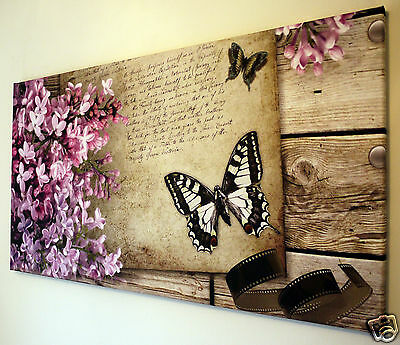 "Butterfly Canvas Wall Art Picture Large 18"" X 32""  Ready To Hang"