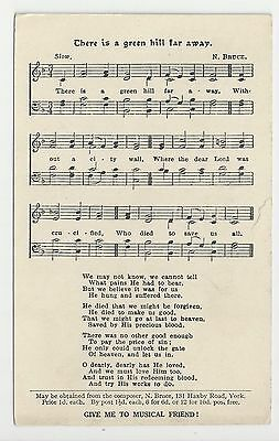 "Music/Song Postcard, ""there is a green hill far away"""