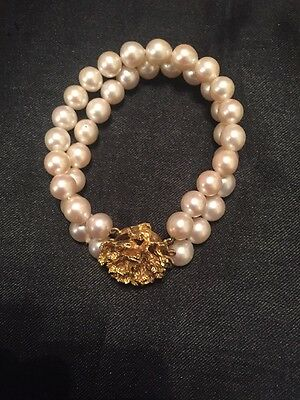 Stunning 9 Carat Gold & Pearl Bracelet With Coral Design Clasp L