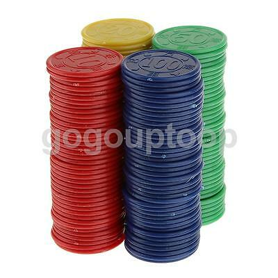 160Pcs Plastic Poker Chips Token Red Green Blue Yellow Chips For Party Game