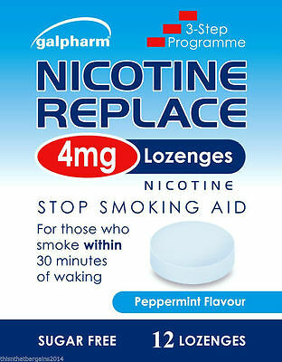 3 x Nicotine Replace 4mg 12 Lozenges Peppermint Stop Smoking Aid