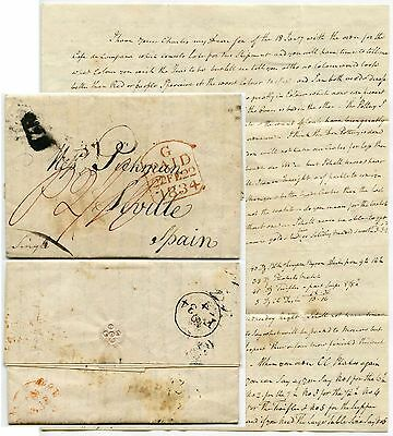 GB 1834 LETTER to SPAIN SEVILLE from NEWCASTLE U LYME SIGNED PICKMAN...POTTERIES