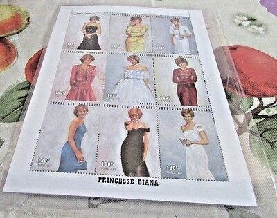 Princess Diana Commemorative Stamps Royal Gowns Block of 9  COA # 6856