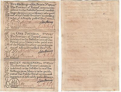 1771 North Carolina Colonial Currency Uncut Sheet Of 3 Notes Uncirculated
