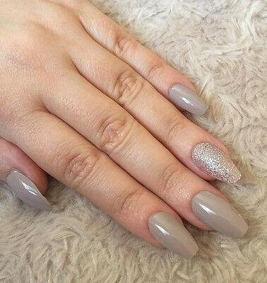 Hand Painted False Nails COFFIN Full Cover. Gloss vanilla nude and bronze. UK