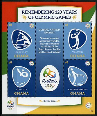 Ghana 2016 MNH Olympic Games 120 Yrs Rio Summer Olympics 4v M/S I Stamps
