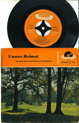 """7"""" EP - ALFONS BAUER """"Unsere Heimat"""", genähtes Cover, polydor 1956"""