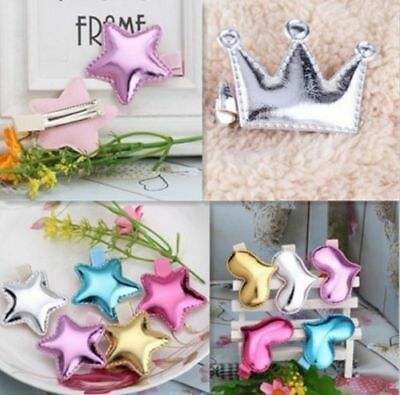 Girls Heart Crown Hairpins Kids Accessories Hair Clip Leather Shiny Star TKGC010