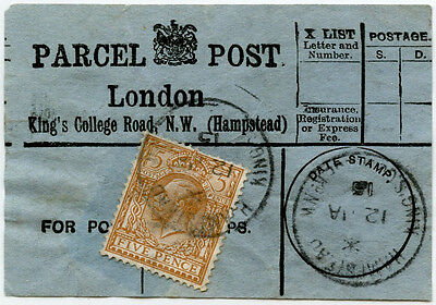 GB PARCEL POST 1915 KINGS COLLEGE ROAD HAMPSTEAD 5d WW1