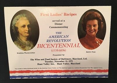Betty Ford First Ladies Recipes Bicentennial Dinner American Cancer Assoc 1976