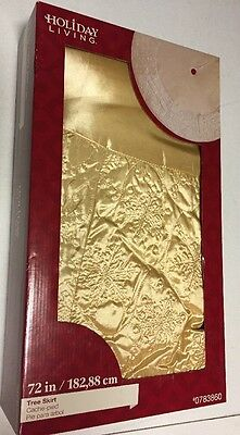"""NEW Holiday Living X-Large 72"""" Gold Embroidered Snowflakes Christmas Tree Skirt"""