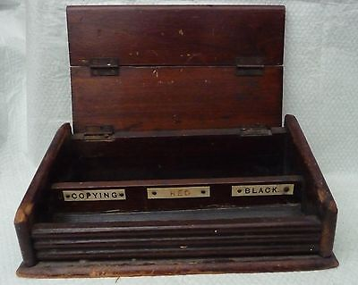 vintage wooden inkwell holder stationery box printing  folding tambour lid d