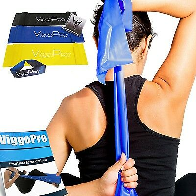 ViggoPro Resistance Bands ~ 3 Pack ~ for Exercises Pilates CrossFit Workouts ...