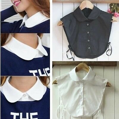 1pc Women Ladies Vertical Small Lapel Blouse Top Shirt Collapsible False Collar