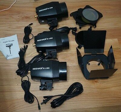 (3) Neewer 180 Watt Professional Photography Studio Strobe/Flash (lot of 3)