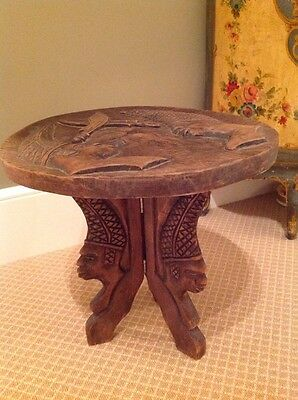 Vintage Ornate Hand Carved Wood Decorative Stand