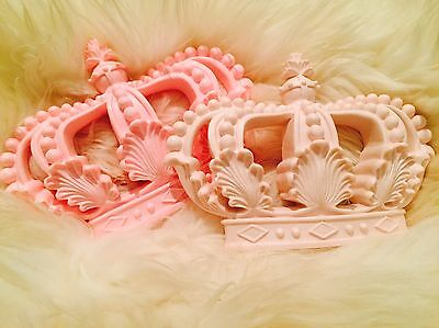 Light Pink Moulding Baby Nursery Girls Large Princess Wall Bed Cot Crown Canopy