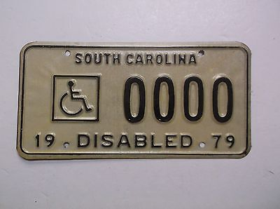 1979 79 DISABLED South Carolina SAMPLE License Plate Auto Tag REFLECTIVE Sign