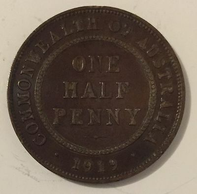 1919 Commonwealth of Australia One Half Penny coin George V