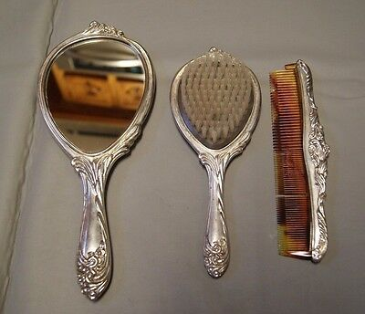 Silver Plated Mirror Brush and Comb Set