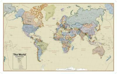 Hemispheres Boardroom Series World Wall Map, Educational Poster Giant Poster 155