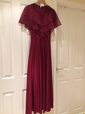 Vintage 70's Floaty Burgundy Maxi/Full Length Dress  - Size 8/10