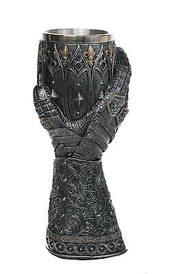 """Medieval Knight Lions Heart Gauntlet Style Wine Goblet 9"""" H"""