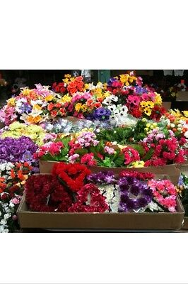 100 ARTIFICIAL FLOWER BUNCHES joblot Wholesale Fake Posy Stems Roses Lily Etc