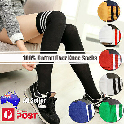 Boy Girl Lady Warm Thigh High Stripe Over Knee soccer Long Stocking tights Socks